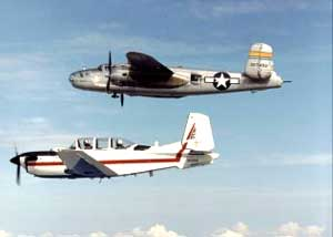 Photo of B-25 and T-34 Mentor in Flight